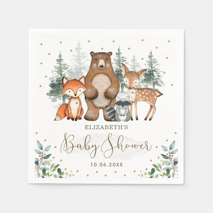 Woodland Animals Greenery Forest Baby Shower Napkins