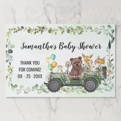 Woodland Animals Greenery Forest Paper Placemat