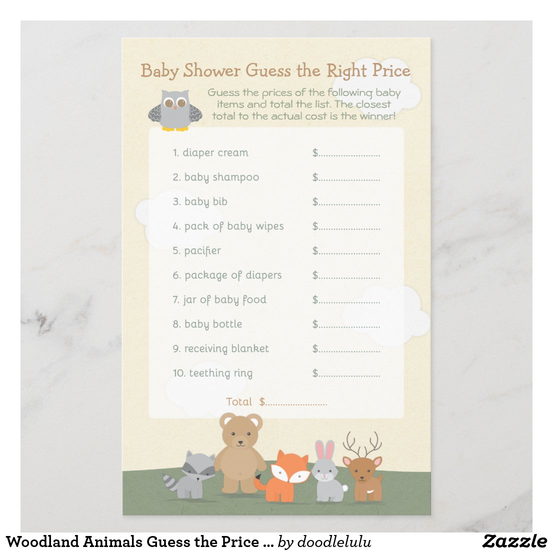 Woodland Animals Guess the Price Baby Shower Game