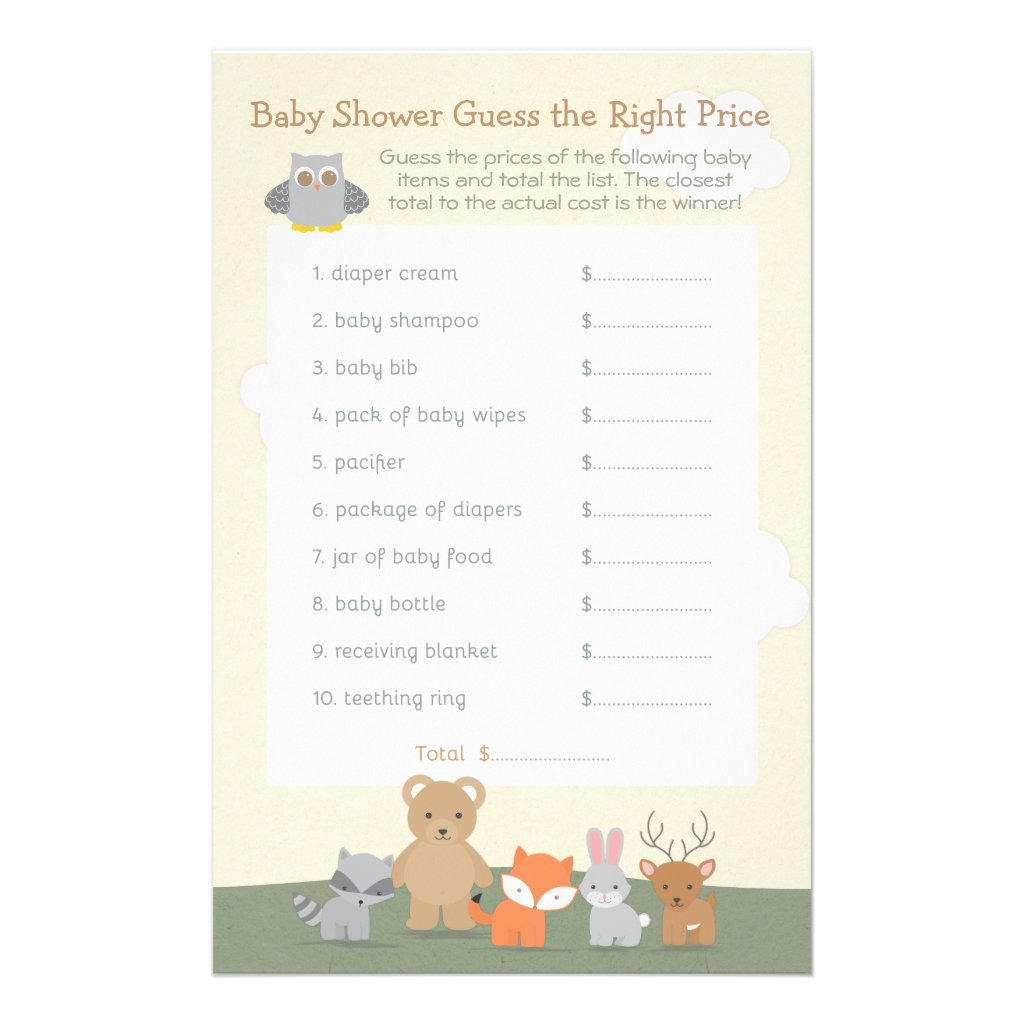 Woodland Animals Guess the Price Baby Shower Game Flyer