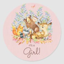 Woodland Animals It' a Girl Favor Sticker