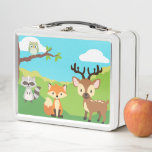 "Woodland Animals Lunch Box<br><div class=""desc"">The woodland animals are gathered together in this custom lunch box for kids. Characters may be moved around to make space for customization, add a name or caption. Can also be used as a special give away box for a themed birthday party. Animals included are; red fox, deer, raccoon, and...</div>"