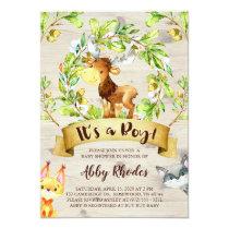 Woodland Animals Moose Fox Raccoon Baby Shower Invitation