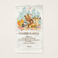 Woodland Animals Neutr Shower Diaper Raffle Ticket at Zazzle