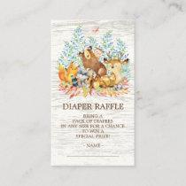 Woodland Animals Neutr Shower Diaper Raffle Ticket Enclosure Card