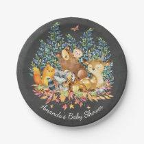 """Woodland Animals Neutral Baby Shower 7"""" Plate"""