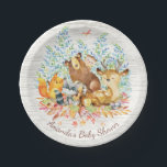 "Woodland Animals Neutral Baby Shower 7&quot; Plate<br><div class=""desc"">Cute woodland animals for a gender neutral girl shower. Our cute forest scene featuring a beer,  deer,  fox,  owl,  raccoon,  &amp; moose. Matching items available in our shop.</div>"