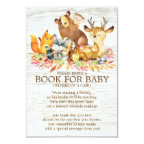 Woodland Animals Neutral Baby Shower Book for Baby Invitation