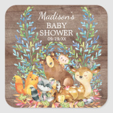 Woodland Animals Neutral Baby Shower Favor Sticker
