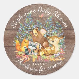Woodland Animals Neutral Baby Shower Favor Sticker