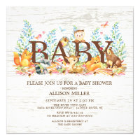 Neutral baby shower invitations zazzle woodland animals neutral baby shower invitation filmwisefo Image collections