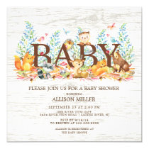 Woodland Animals Neutral Baby Shower Invitation