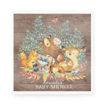 Woodland Animals Neutral Baby Shower Paper Napkins