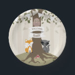 "Woodland Animals Neutral Baby Shower Paper Plate<br><div class=""desc"">Baby shower paper plates featuring an illustration of a tree with green leaves and exposed roots. A fox and raccoon sit at either side of the trunk and an owl sits on banner wrapped around trunk that says,  &quot;Welcome Baby!&quot; Bunting is white.</div>"