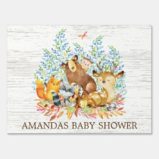 Woodland Animals Neutral Baby Shower Yard Sign