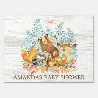 Woodland Animals Neutral Baby Shower Yard Sign