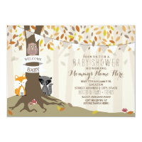 Woodland Animals Neutral Fall Autumn Baby Shower Invitation