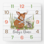 Woodland Animals  Nursery Decor Wall Clock