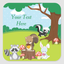 Woodland Animals Party | Personalized Square Sticker