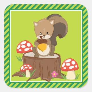 Woodland Animals Party | Squirrel Square Sticker