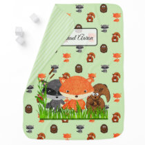 Woodland Animals Personalized Baby Boy Blanket