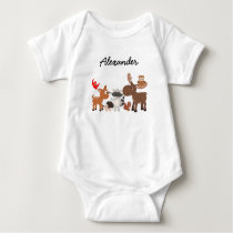 Woodland Animals personalized snap undershirt Baby Bodysuit