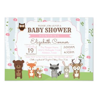 Woodland Animals Spring or Summer Girl Baby Shower Card