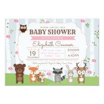 Woodland Animals Spring or Summer Girl Baby Shower Card