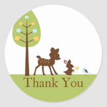 Woodland Animals Thank You Baby Shower Sticker