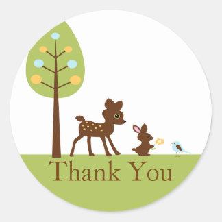 Woodland Animals Thank You Baby Shower Sticker