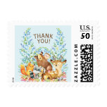 Woodland Animals Thank You Postage Stamp