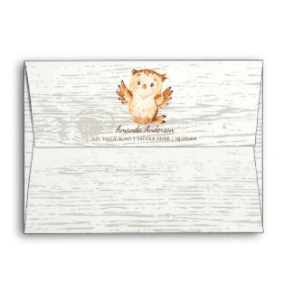 Woodland Animals Wood Neutral Invitation Envelope