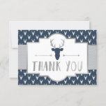 "Woodland Antlers Thank You Card, Faux Foil<br><div class=""desc"">Say thank you to your shower guests with this woodland thank you card! ***Silver foil is an embedded image of foil and will print flat as shown. No actual silver foil will be on this item.***</div>"
