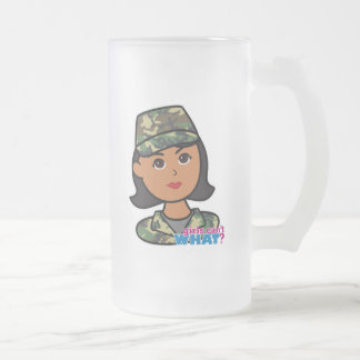 Woodland Army Camouflage Frosted Glass Beer Mug