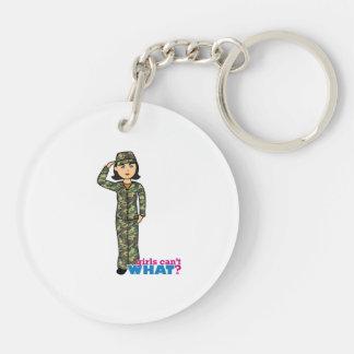 Woodland Army Camouflage Girl Keychain