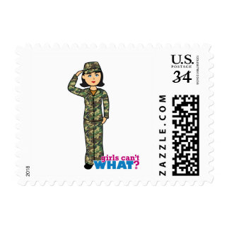 Woodland Army Camouflage Girl Postage Stamps