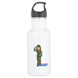 Woodland Army Camouflage Girl Stainless Steel Water Bottle