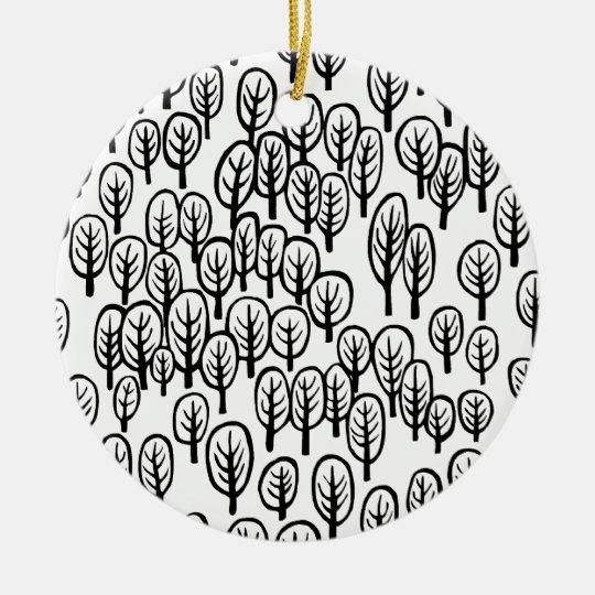 Woodland - B&W Ceramic Ornament