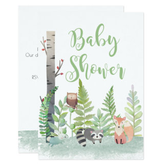 Woodland Baby Animals Greenery Baby Shower Invites