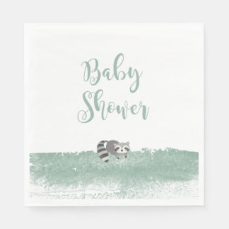 Woodland Baby Animals Greenery Baby Shower Napkins