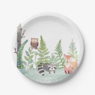 Woodland Baby Animals Greenery Baby Shower Party Paper Plate at Zazzle