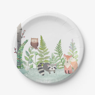 Woodland Baby Animals Greenery Baby Shower Party Paper Plate