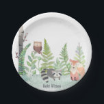 "Woodland Baby Animals Greenery Monongram | Paper Plate<br><div class=""desc"">Watercolor woodland baby animals and greenery baby shower paper plates. Personalize with your own text. Sweet baby animals with nature&#39;s greens. Matching invitation and paper cups available. Animal graphics by kennasatodesigns.etsy.com</div>"