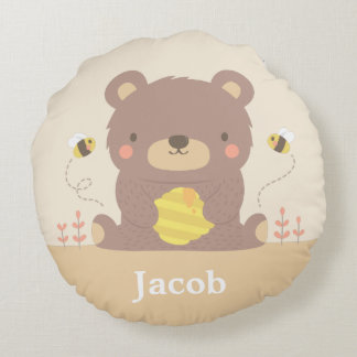 Woodland Baby Bear Kids Room Decor Throw Pillow