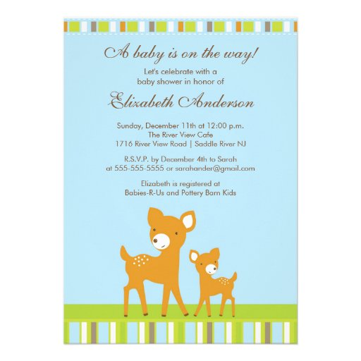 woodland baby deer baby shower invitation 5 x 7 invitation card