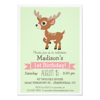 "Woodland Baby Deer, Fawn Birthday Party Invitation 5"" X 7"" Invitation Card"