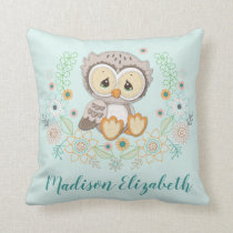 Woodland Baby Owl Design Throw Pillow