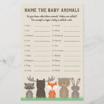 Woodland Baby Shower Baby Animal Name Game