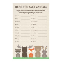 Woodland Baby Shower Baby Animal Name Game Flyer