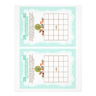 Woodland Baby Shower Bingo Game blue, 2 a page